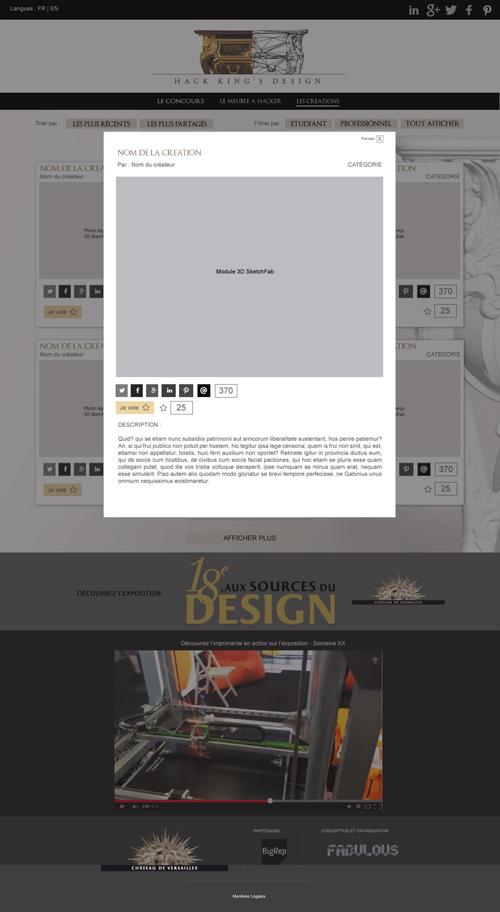 Maquette page créations avec pop-up